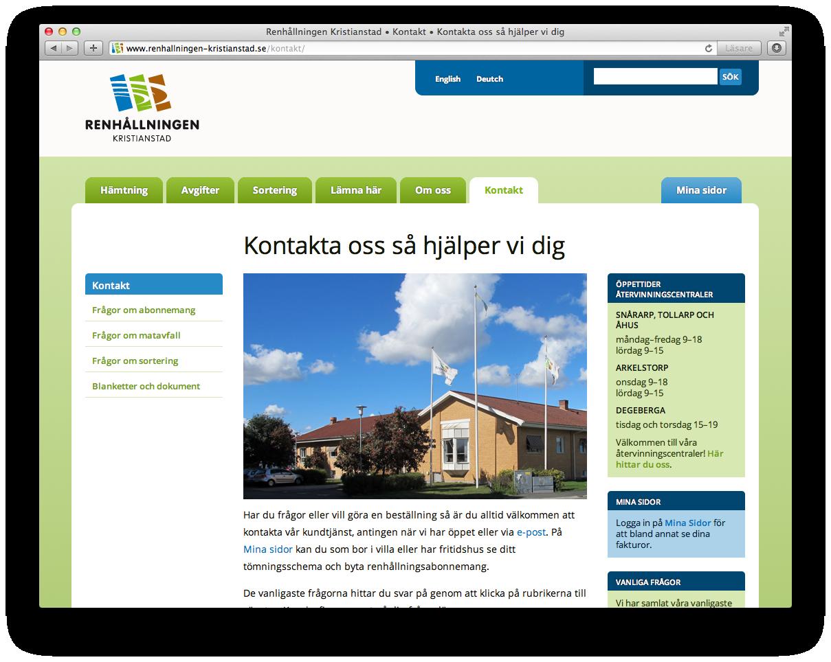 Renhållningen Kristianstad kontaktsida