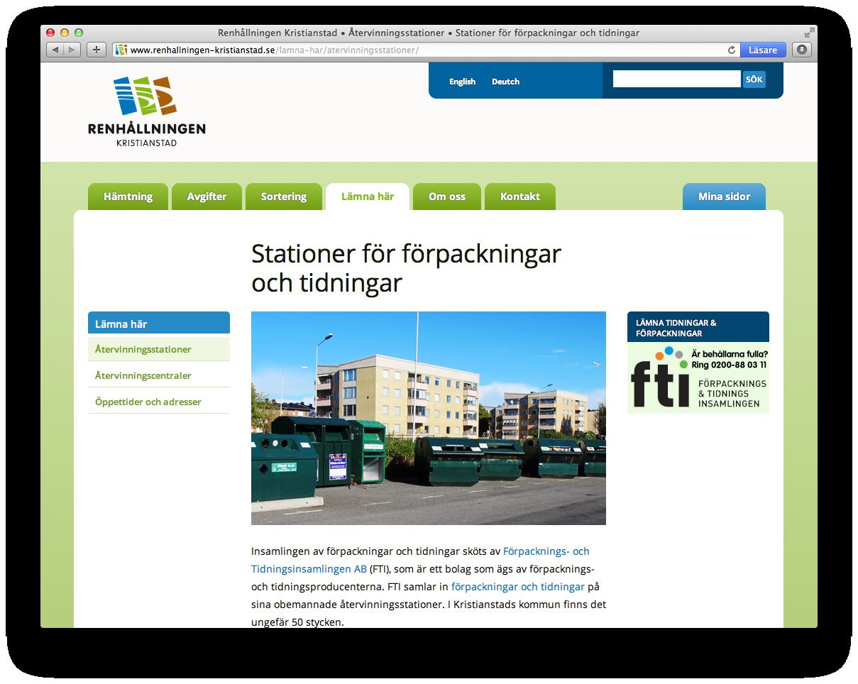 Renhållningen Kristianstad Återvinningsstationer