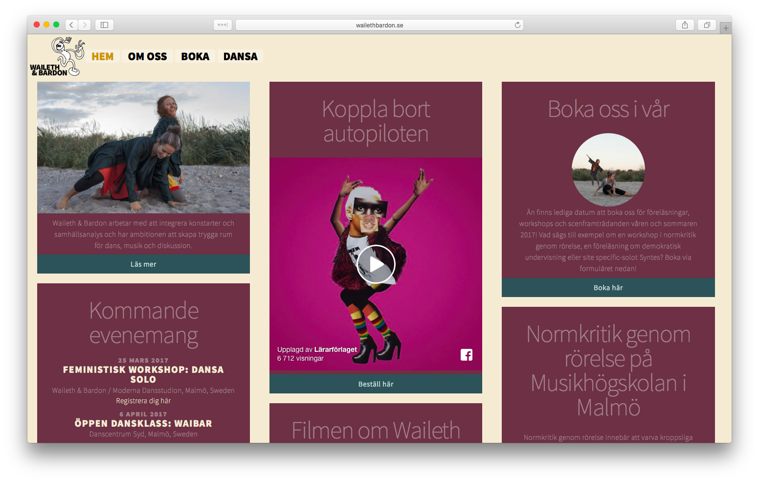 Waileth & Bardon webbplats